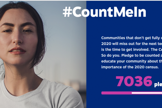 #CountMeIn Communities that don't get fully counted in 2020 will miss out for the next ten years. This is the time to get involved. The Census counts. So do you. Pledge to be counted and to educate your community about the importance of the 2020 census. 7036 pledges